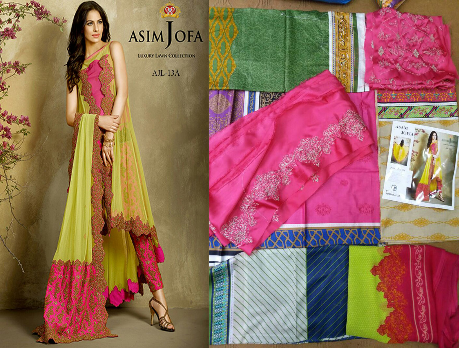 Asim jofa 13 A B available in lawn fabric with chiffon dupatta