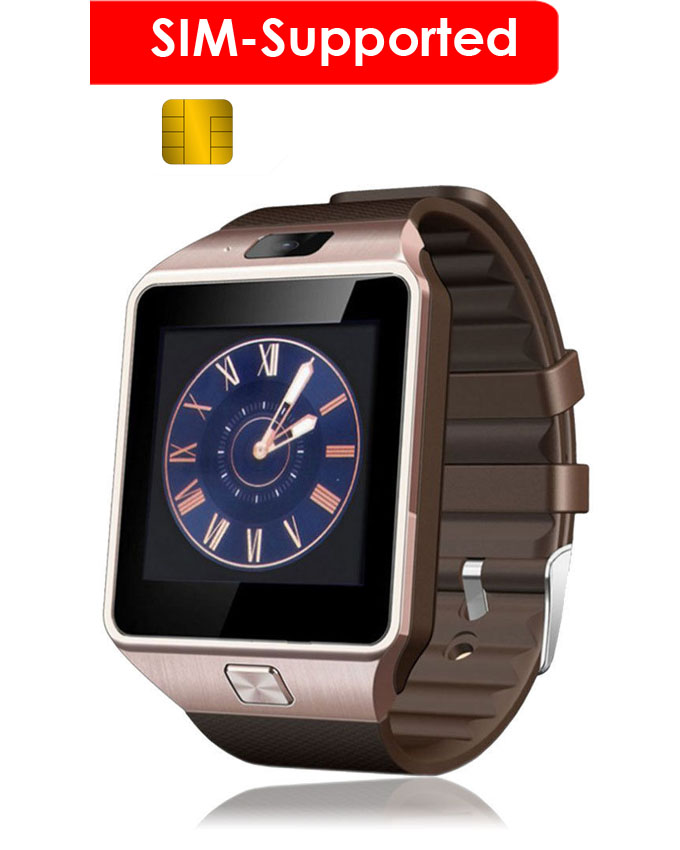 SIM Supported Smart-Watch Touchscreen Golden