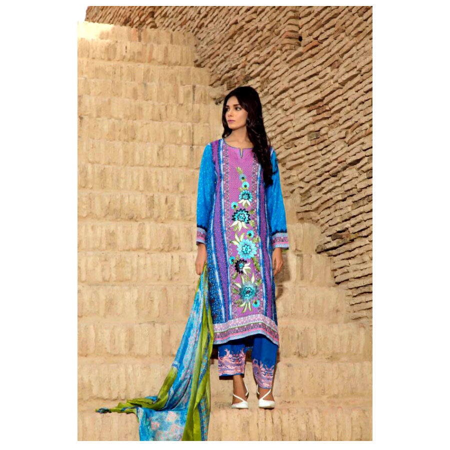 Sky Blue Summer Lawn Suit