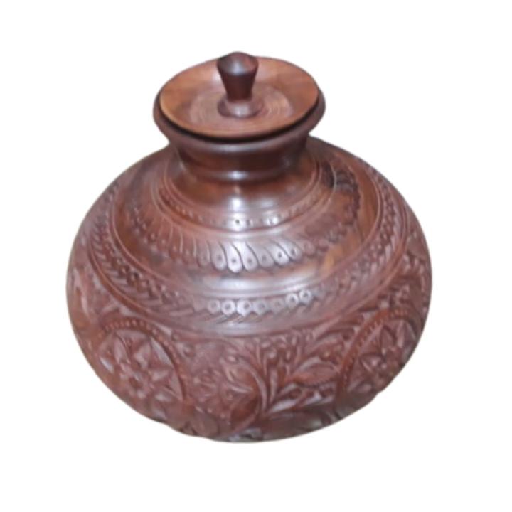 Beautiful Wooden Matka (Ghara) Decoration Item