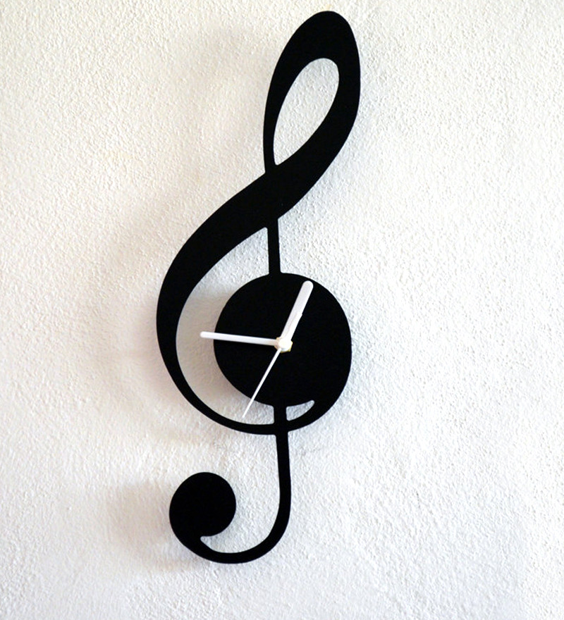 Silhouette Music Note Wall Clock