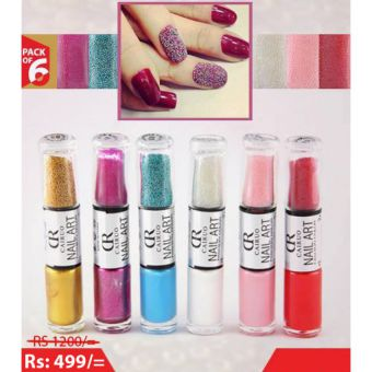 Pack of 6 Cairuo Nail Polish With Micro Beads Nail Art