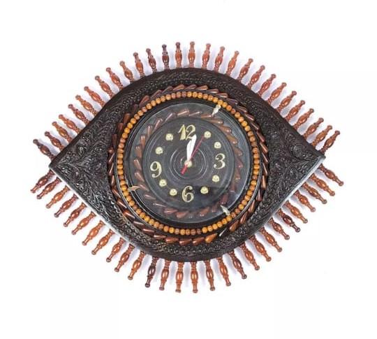 Beautiful Wooden Eye Shape Wall Clock 14 Inches