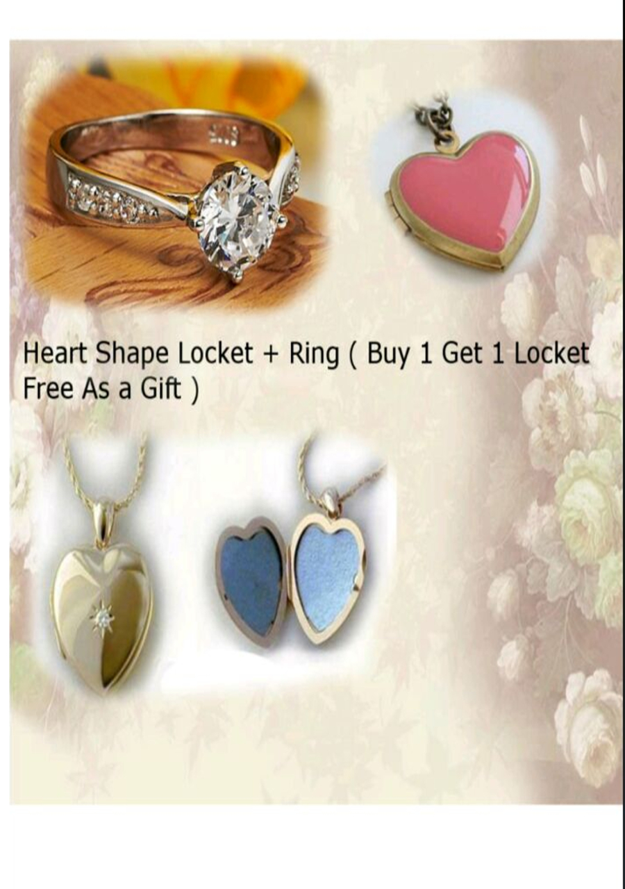 Heart Shape Locket + Ring ( buy one get one as a gift )