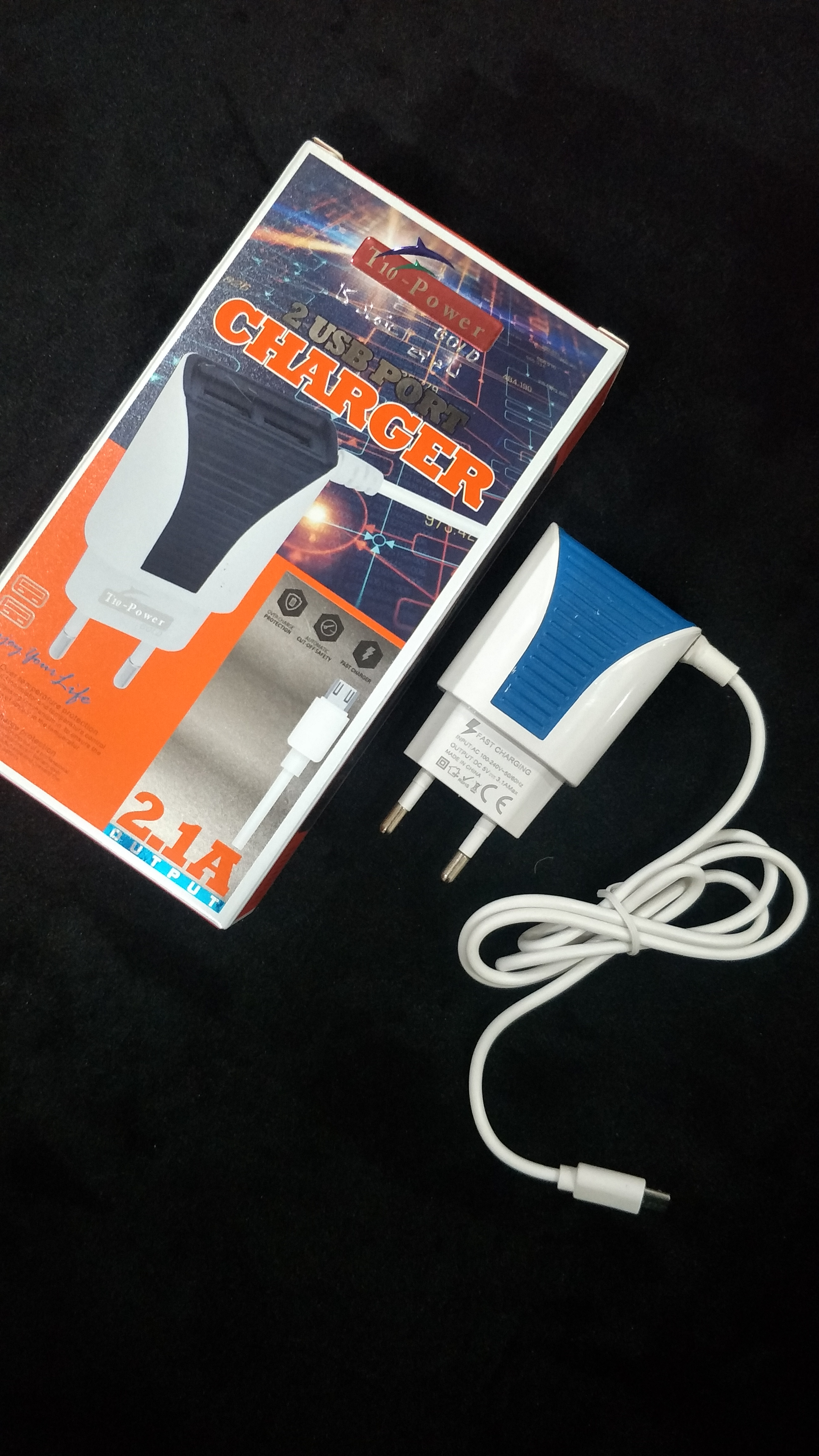 T-10 Imported 2 USB Fast Charger 2.1 Ampere_1
