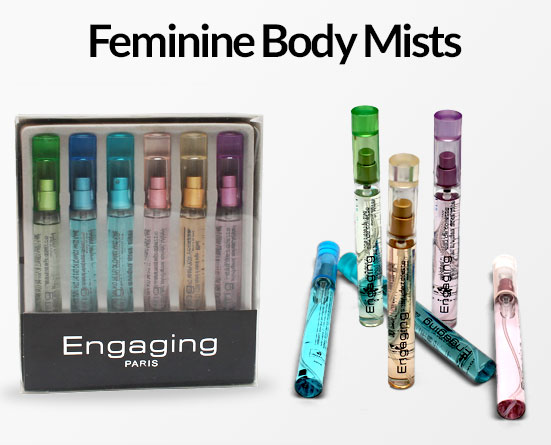 Pack of 6 Engaging Paris Body Mists for Her