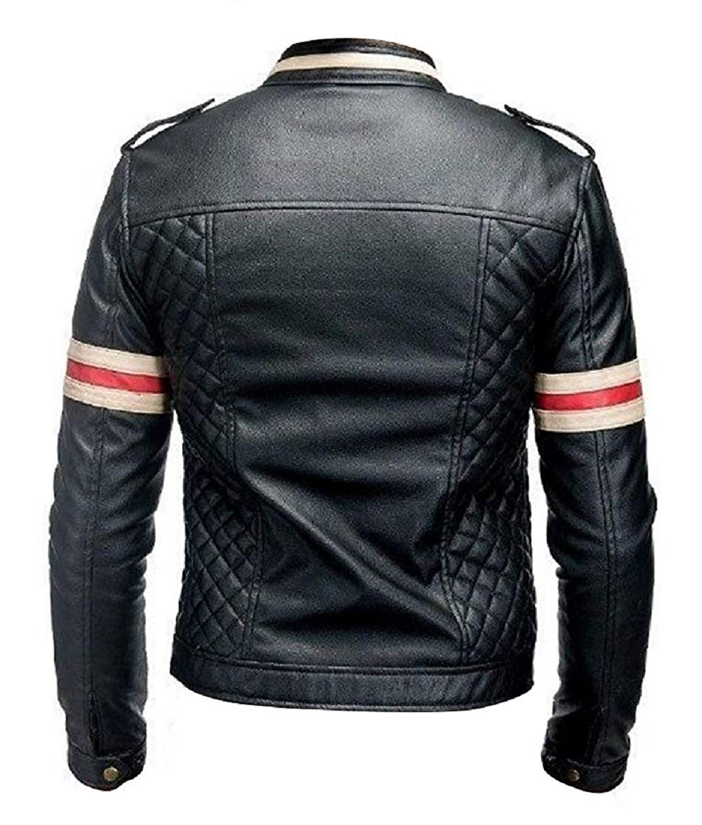 MenBiker Style Motorcycle Genuine Leather Jacket Black with Red and White Stripes_3