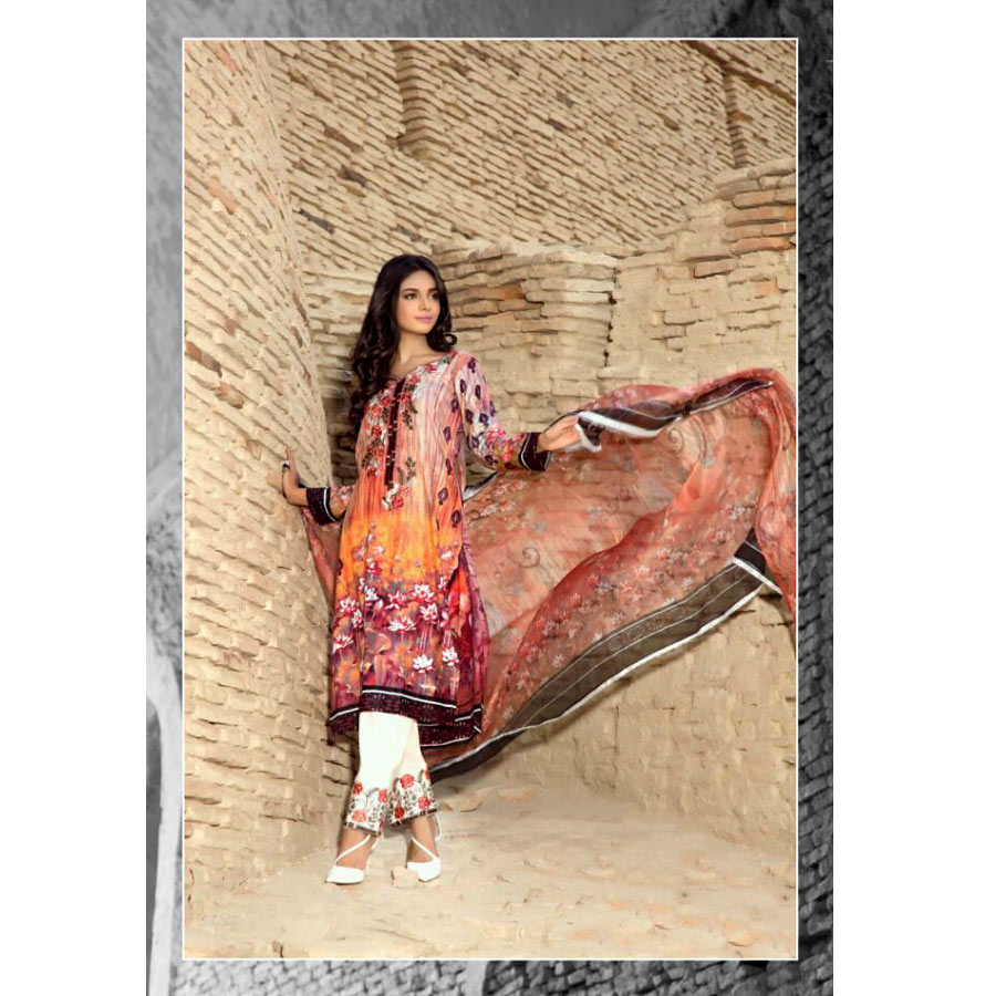 Peach Color of Summer Lawn Suit