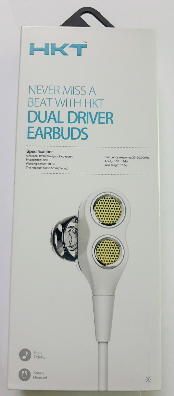 HKT Dual Speaker Bass earphones, handsfree with moving coil technology 3.5mm White_1