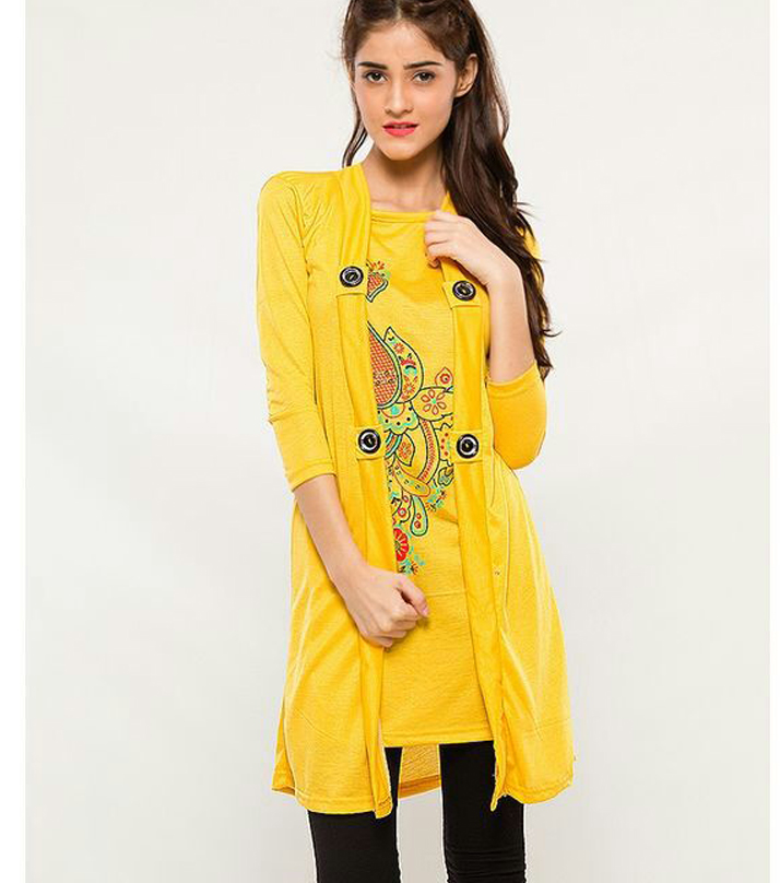 Yellow Coat Style Top For Women