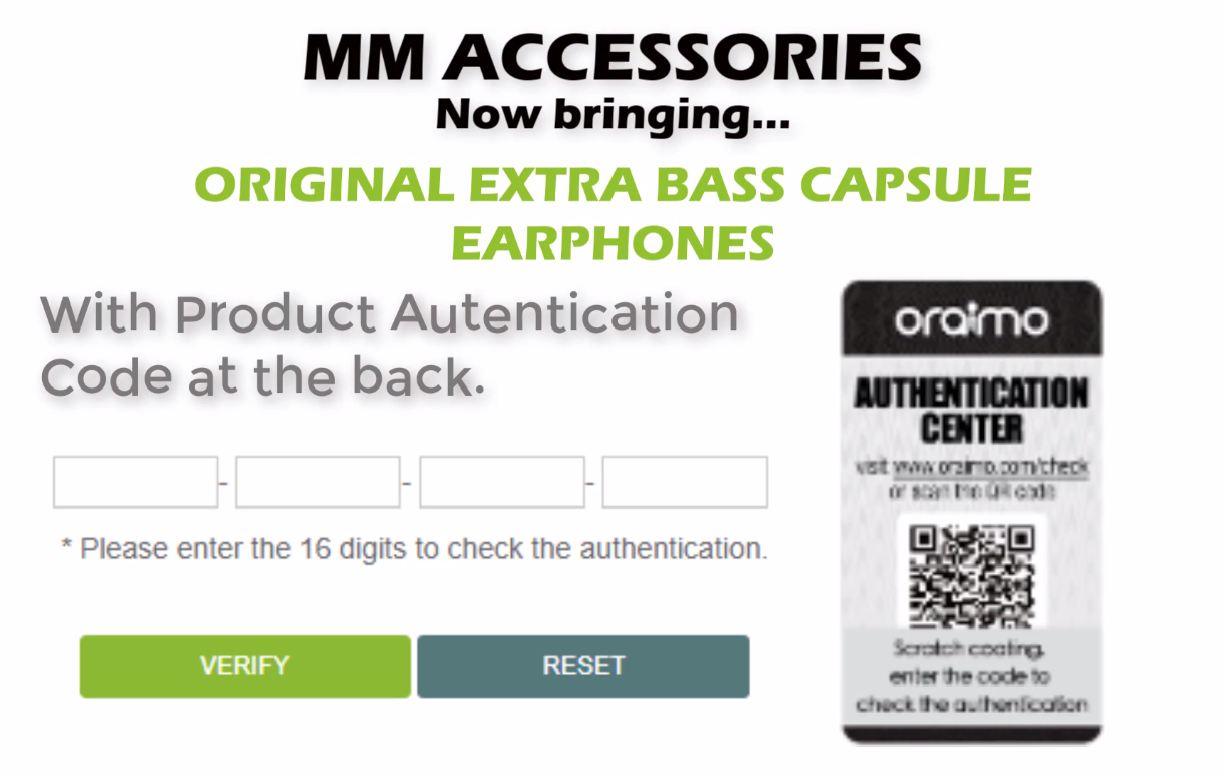 Original Extra Bass Capsule Earphones with product authentication code_1
