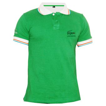 Green Polo with Tipping Collar for Men