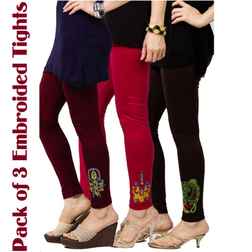 Pack Of 3 Embroidered Tights For Her_3