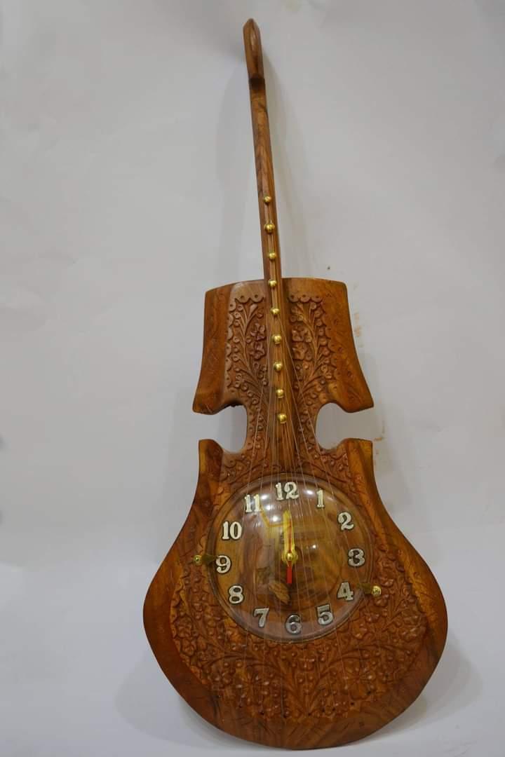Beautiful Wooden Guitar Shape Wall Clock