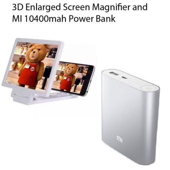 Combo of 3D Enlarged Screen Magnifier and mi 10400 mah Power Bank