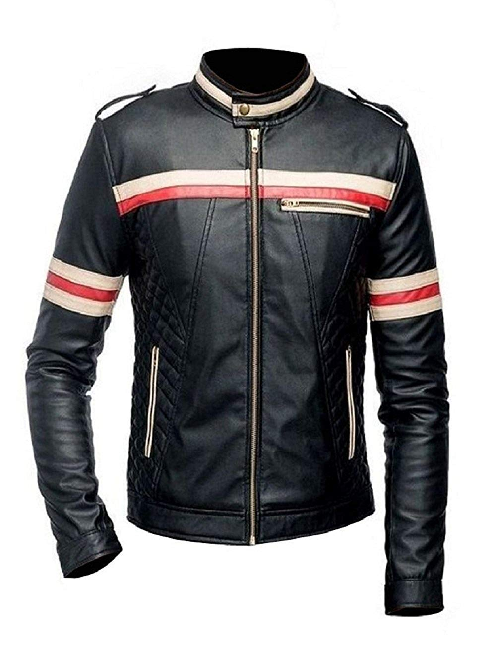 MenBiker Style Motorcycle Genuine Leather Jacket Black with Red and White Stripes
