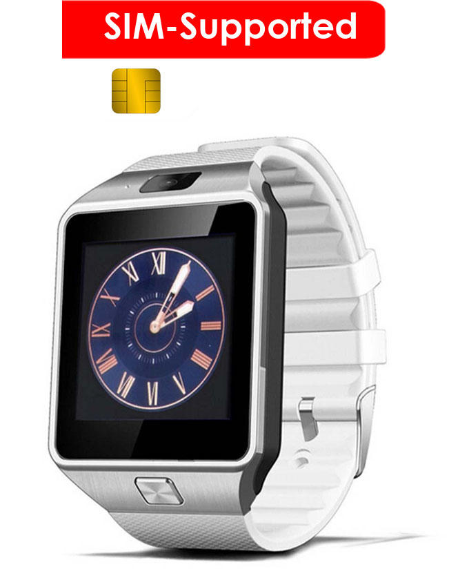 SIM Supported Touchscreen Smart Watch - White