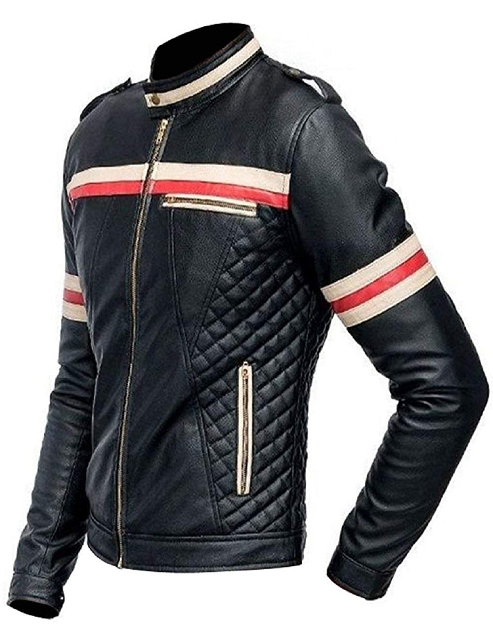 MenBiker Style Motorcycle Genuine Leather Jacket Black with Red and White Stripes_2