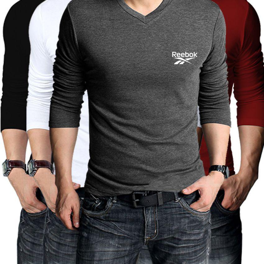 Pack Of 4 Full Sleeves Reebook PL V-Neck T-Shirt