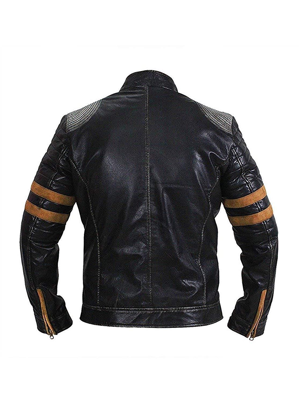 New Vintage Retro Black Distressed Real Leather Biker Jacket_2