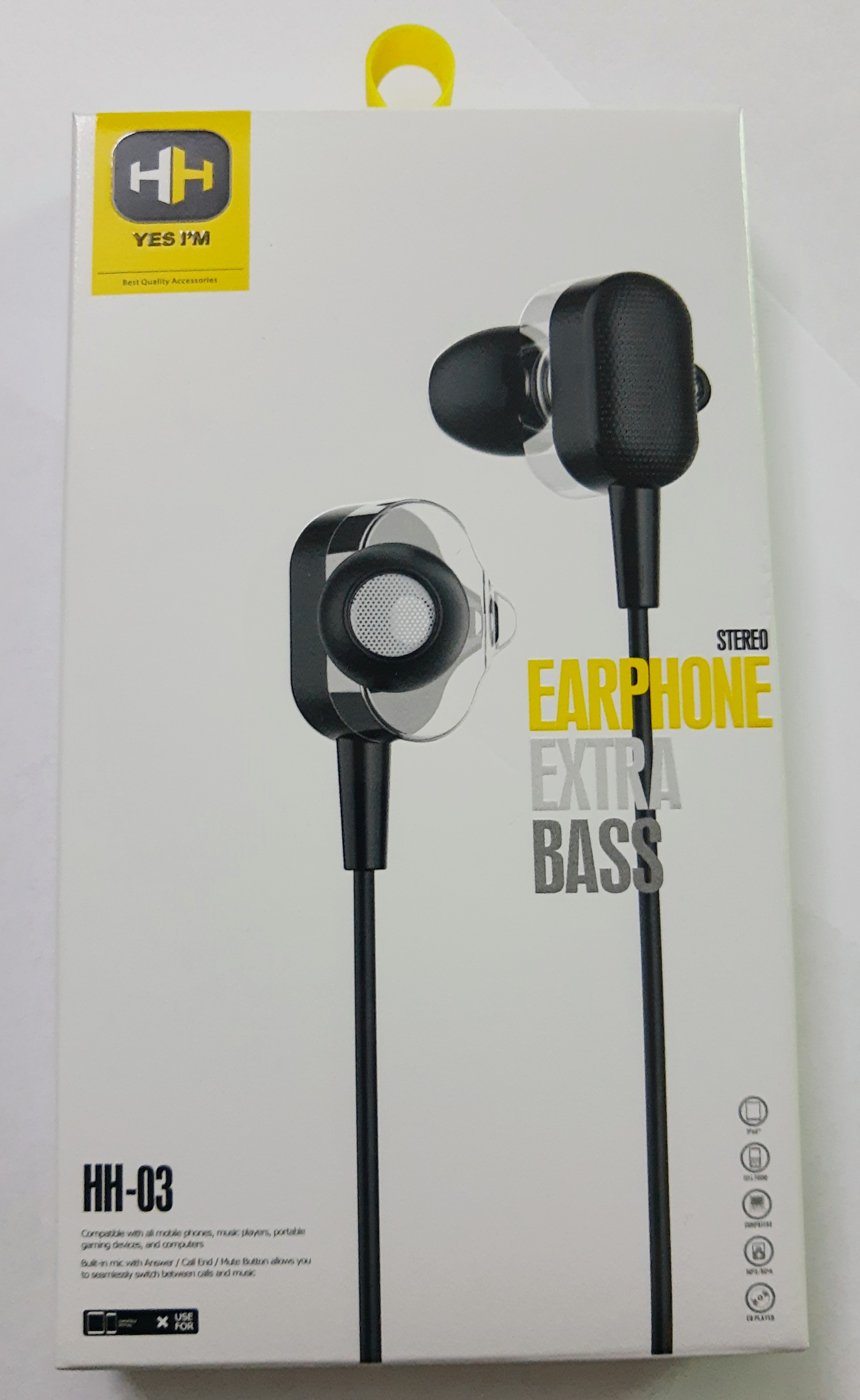 Extra Deep Bass Stereo Earphones, handsfree 3.5mm for music and gaming