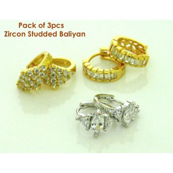 Pack of 3 Pairs Zircon Studded Baliyan