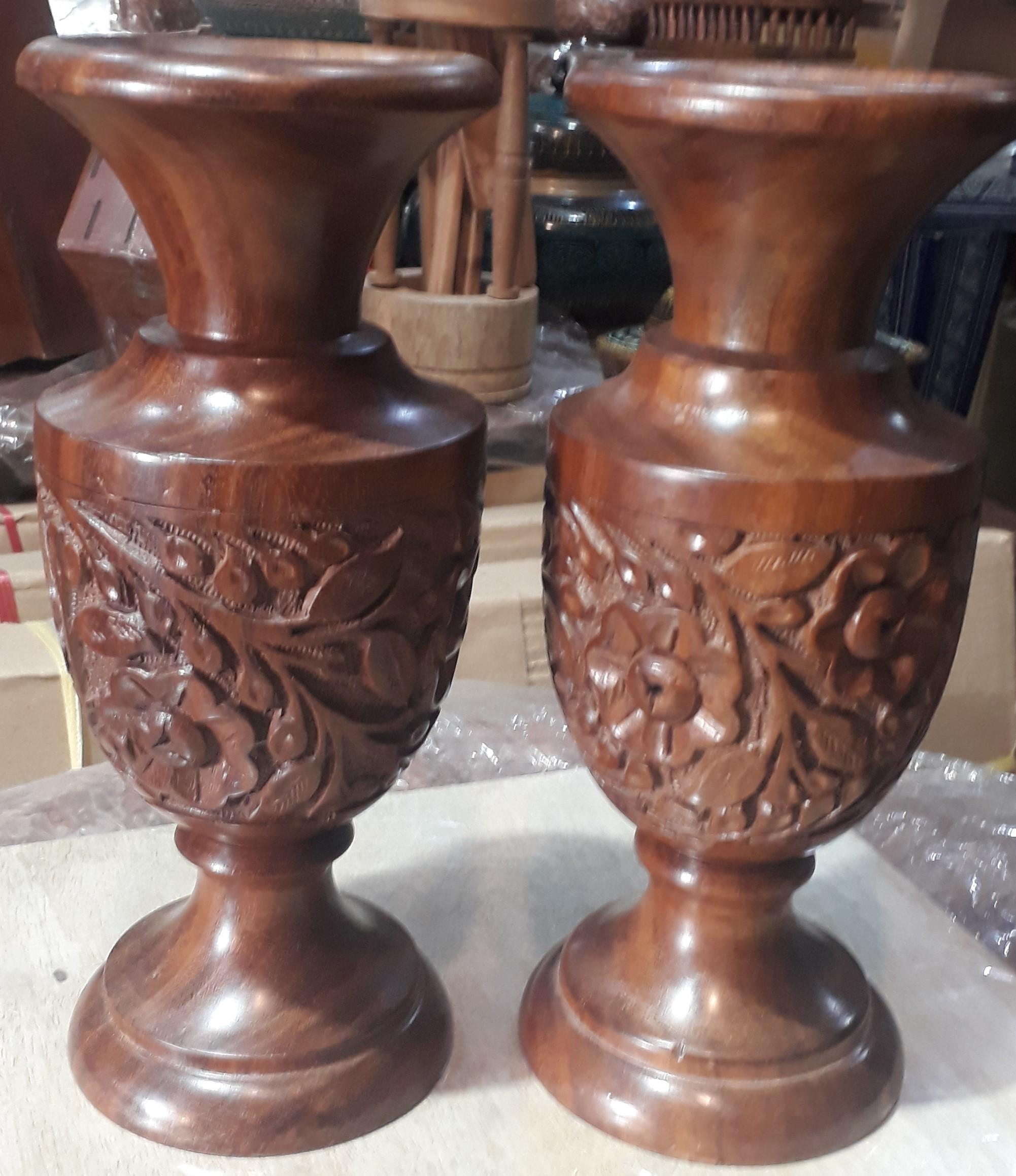 Beautiful Wooden Carving Vase Pair Set