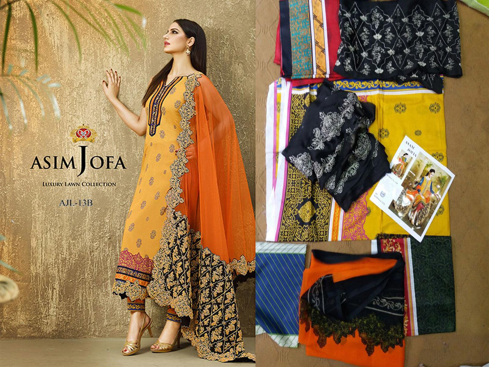 b1461a5dc4 Buy Asim jofa 13 A B available in lawn fabric with chiffon dupatta ...