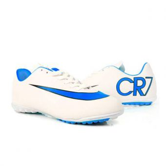 Nike Mercurial White & Blue Football Gripper Shoes for Men