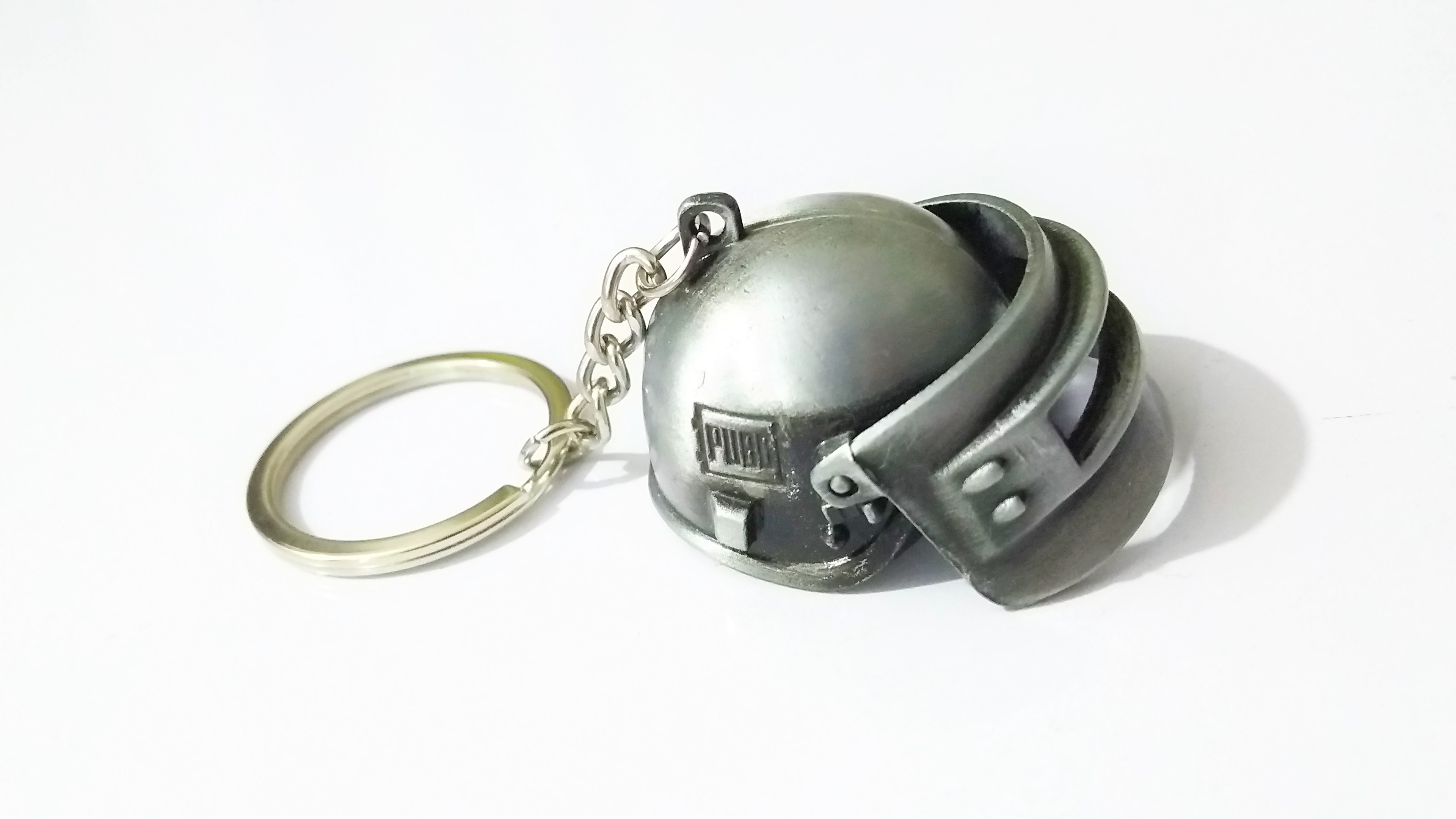 SILVER - PUBG - LEVEL 3 - HELMET Key Chain